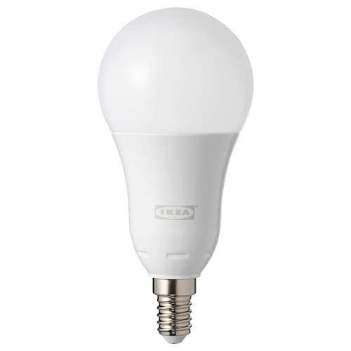 TRÅDFRI لمبة LED E14 600 lumen قابل للخفت لاسلكي طيف أبيض وملون/كروي أبيض أوبال 600 لومن 2700 كلفن 129 مم 60 مم 8.6 واط