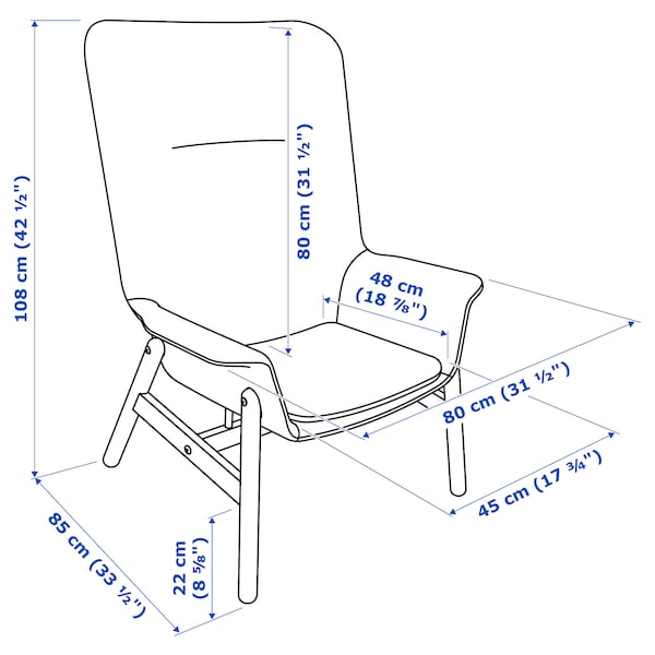 VEDBO كرسي بذراعين ذو ظهر عالي Gunnared بني فاتح-وردي 80 سم 85 سم 108 سم 45 سم 48 سم 44 سم