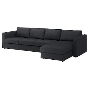 غطاء: مع أريكة طويلة/tallmyra أسود/رمادي.