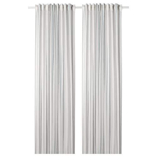 ÄDELSPINNARE curtains, 1 pair white/striped 300 cm 145 cm 1.40 kg 4.35 m² 2 pieces