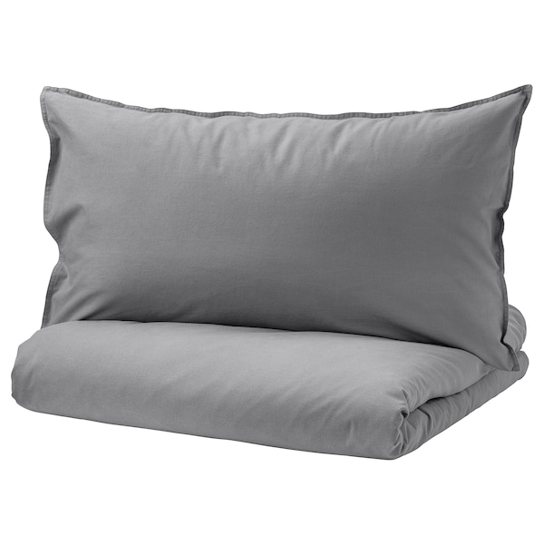 ÄNGSLILJA Quilt cover and 2 pillowcases, grey, 240x220/50x80 cm