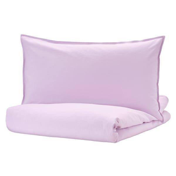 ÄNGSLILJA Quilt cover and 2 pillowcases, light lilac, 240x220/50x80 cm