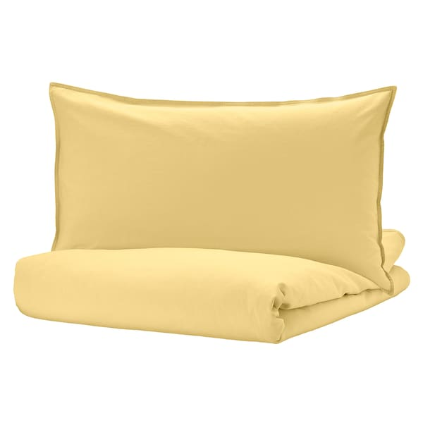 ÄNGSLILJA Quilt cover and 2 pillowcases, light yellow, 240x220/50x80 cm