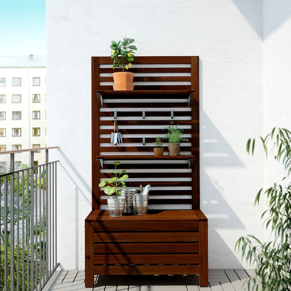 ÄPPLARÖ Bench w panel+ shelves, outdoor, brown stained, 80x44x158 cm