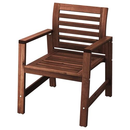 ÄPPLARÖ chair with armrests, outdoor brown stained 110 kg 62 cm 65 cm 82 cm 49 cm 49 cm 41 cm