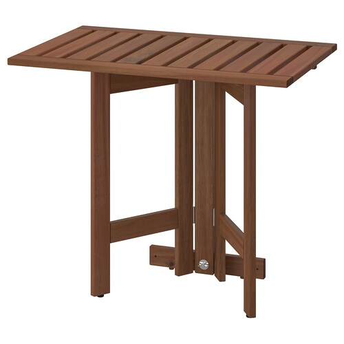 ÄPPLARÖ gateleg table for wall, outdoor brown stained 80 cm 56 cm 72 cm