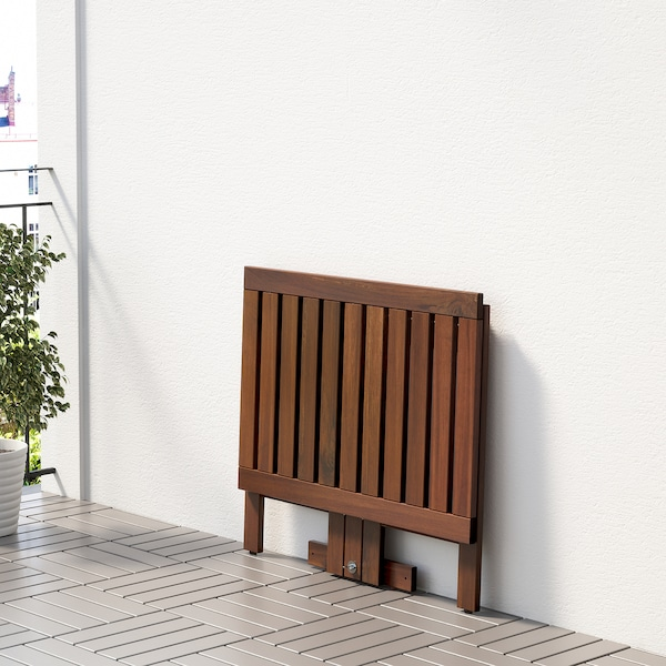 ÄPPLARÖ Gateleg table for wall, outdoor, brown stained, 80x56 cm