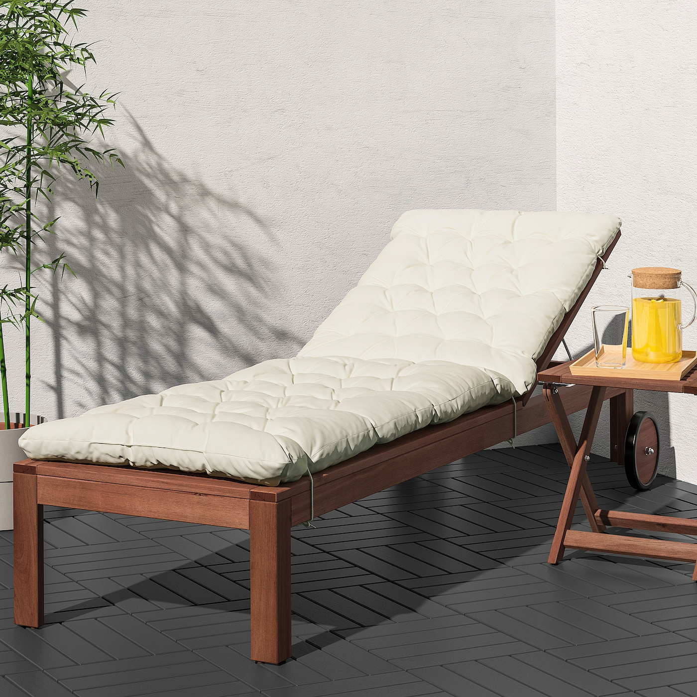 ÄPPLARÖ Sun lounger, brown stained