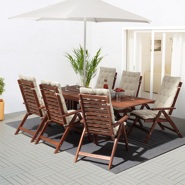 ÄPPLARÖ Table+6 reclining chairs, outdoor, brown stained/Kuddarna beige