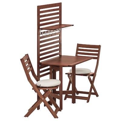 ÄPPLARÖ Wall panel+gatleg table+2 chairs, brown stained/Frösön/Duvholmen beige