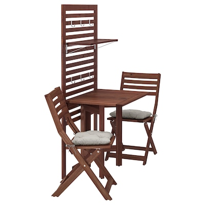ÄPPLARÖ لوح حائط+طاولة بأرجل تطوى+كرسيين, صباغ بني/Kuddarna رمادي