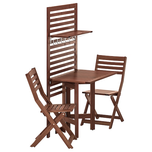 ÄPPLARÖ wall panel+gatleg table+2 chairs outdoor/brown stained