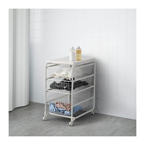 Algot frame wire baskets top shelf castor ikea for Frame storage system