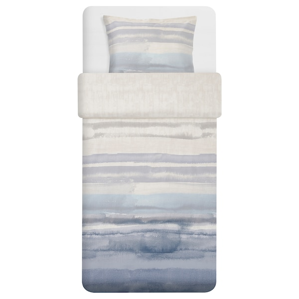 ALPDRABA quilt cover and pillowcase blue/stripe 207 /inch² 1 pieces 200 cm 150 cm 50 cm 80 cm