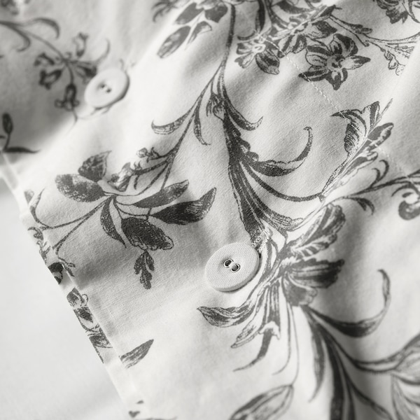 ALVINE KVIST غطاء لحاف و ٢ غطاء مخدة, أبيض/رمادي, 240x220/50x80 cm
