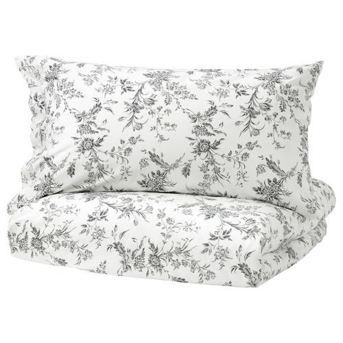 ALVINE KVIST quilt cover and 2 pillowcases white/grey 182 /inch² 2 pieces 220 cm 240 cm 50 cm 80 cm