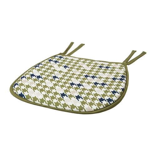 ANNVY Chair pad   Ties keep the chair pad in place.  You can machine wash it.  Reversible; different design on each side.