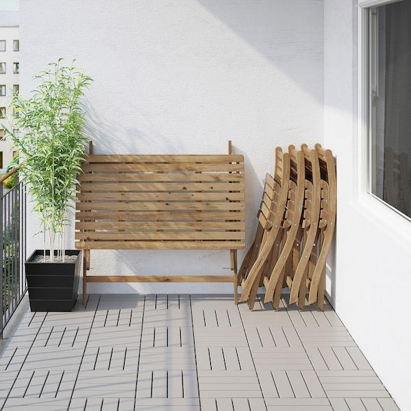 ASKHOLMEN طاولة+4 كراسي قابلة للطي، خارجية, صباغ رمادي-بني/Kuddarna رمادي