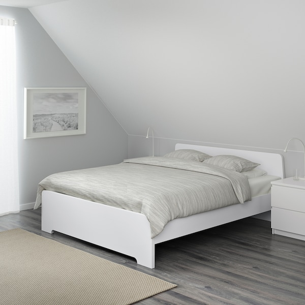 ASKVOLL Bed frame, white/Leirsund, 160x200 cm