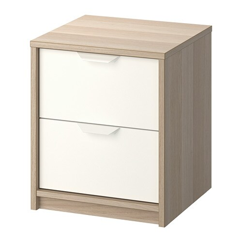 Ikea Comodino Malm.Askvoll Chest Of 2 Drawers White Stained Oak Effect White