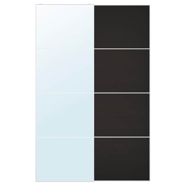 AULI / MEHAMN Pair of sliding doors, mirror glass/black-brown stained ash effect, 150x236 cm