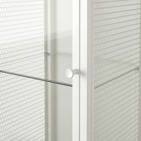 BAGGEBO Cabinet with glass doors, metal/white, 34x30x116 cm