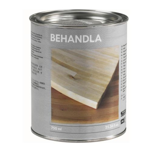 BEHANDLA Wood treatment oil, indoor use   Protects wood on the surface and deep into the fibre, and gives it a nice sheen.