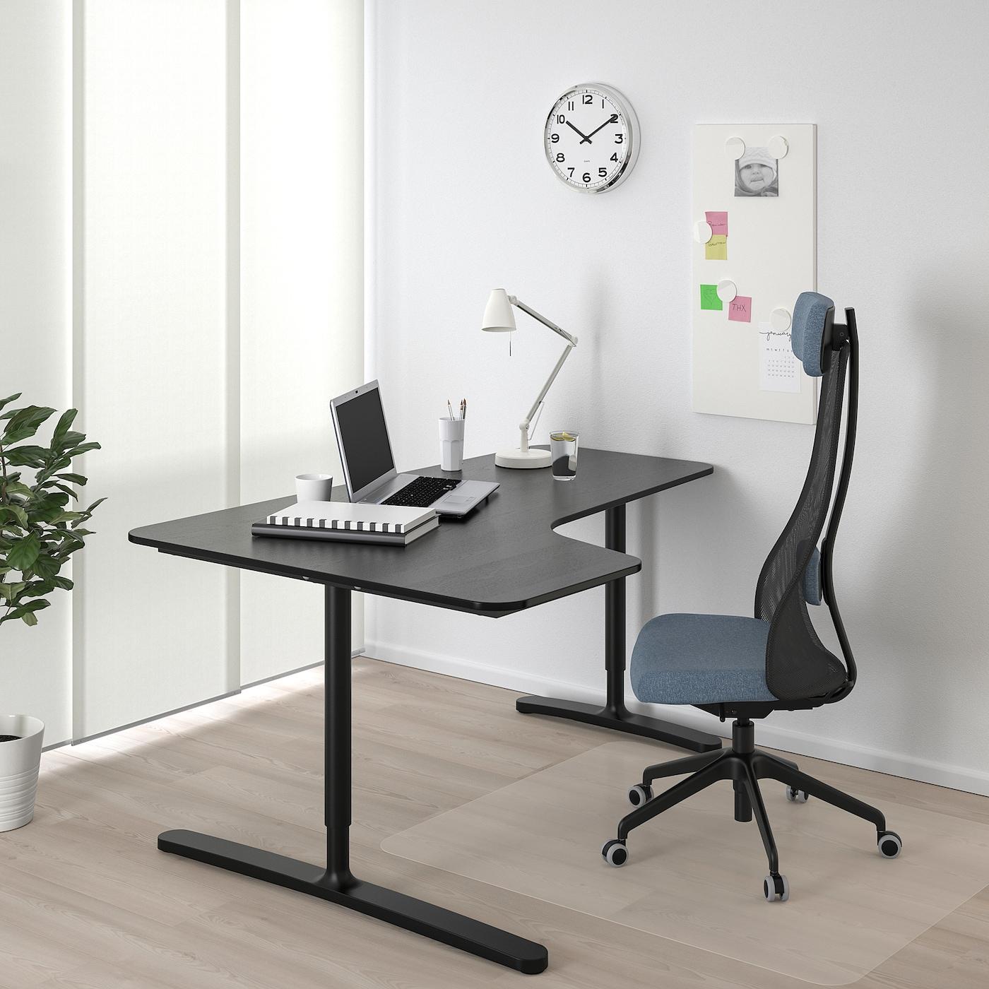 BEKANT Corner desk left, black stained ash veneer/black, 160x110 cm
