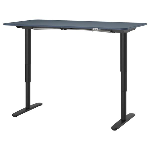 BEKANT Desk sit/stand, linoleum blue/black, 160x80 cm