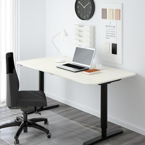 BEKANT مكتب متغيّر الارتفاع, أبيض/أسود, 160x80 سم