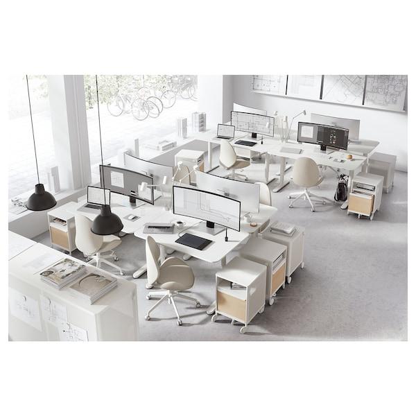 BEKANT مكتب متغيّر الارتفاع, أبيض, 160x80 سم