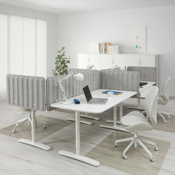 BEKANT Desk with screen, white/grey, 320x160 48 cm