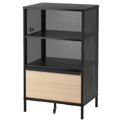 BEKANT Storage unit on legs, mesh black, 61x101 cm