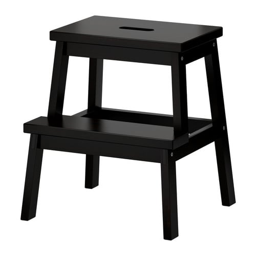 BEKVÄM Step stool   Solid wood is a hardwearing natural material.  Hand-hole in the top step makes the step stool easy to move.