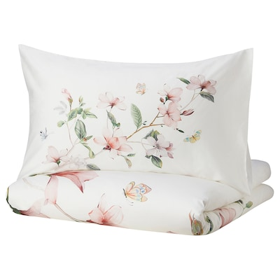 BERGBRÄKEN Duvet cover and 2 pillowcases, white/floral patterned, 240x220/50x80 cm