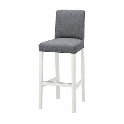 BERGMUND مقعد مرتفع مع مسند ظهر, أبيض/Gunnared رمادي معتدل, 75 سم