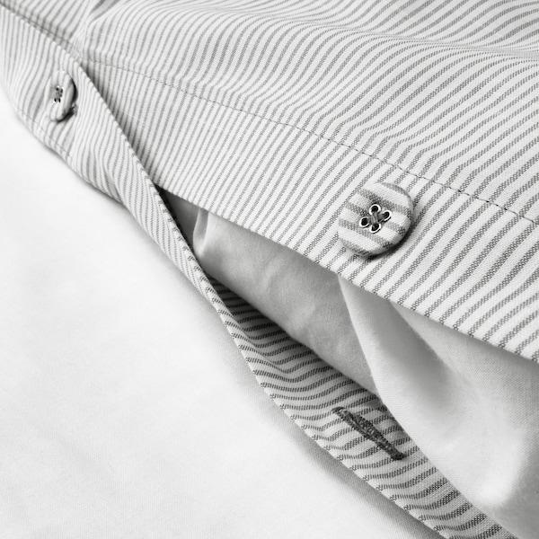BERGPALM غطاء لحاف و غطاء مخدة, رمادي/شريط, 150x200/50x80 سم