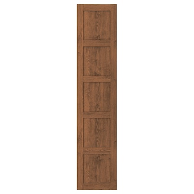 BERGSBO Door with hinges, brown stained ash effect, 50x229 cm