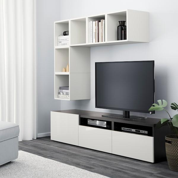 BESTÅ / EKET تشكيلة خزانات لتلفزيون, أبيض/أسود-بني/أبيض/لامع, 180x40x170 سم