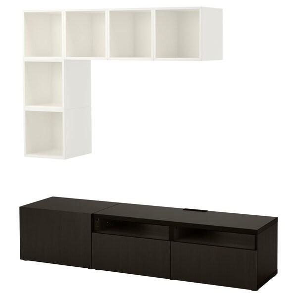 BESTÅ / EKET تشكيلة خزانات لتلفزيون, أبيض/أسود-بني, 180x40x170 سم