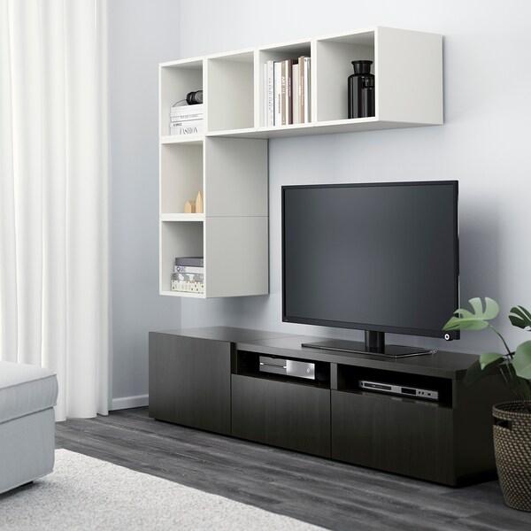 BESTÅ / EKET Cabinet combination for TV, white/black-brown, 180x40x170 cm