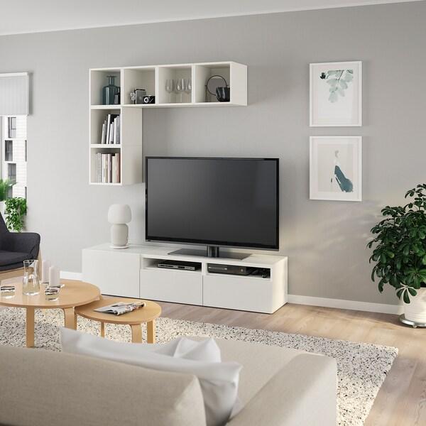 BESTÅ / EKET تشكيلة خزانات لتلفزيون, أبيض, 180x40x170 سم