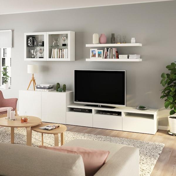 BESTÅ / LACK مجموعة تخزين تليفزيون, أبيض, 300x42x195 سم