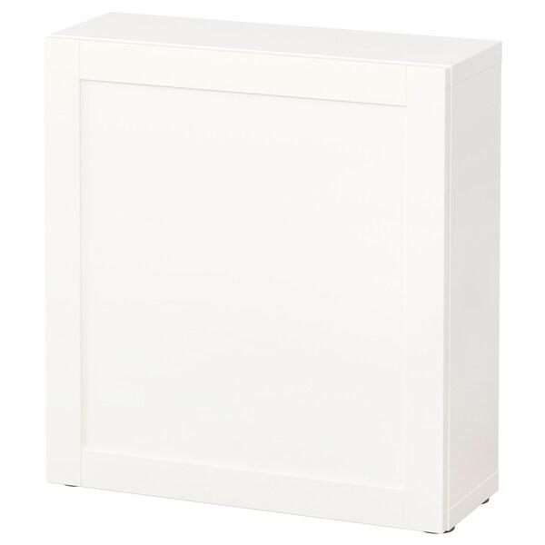 BESTÅ Shelf unit with door, white/Hanviken white, 60x22x64 cm