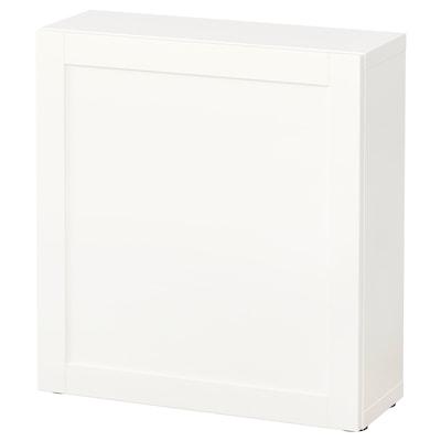 BESTÅ وحدة رف مع باب, أبيض/Hanviken أبيض, 60x22x64 سم