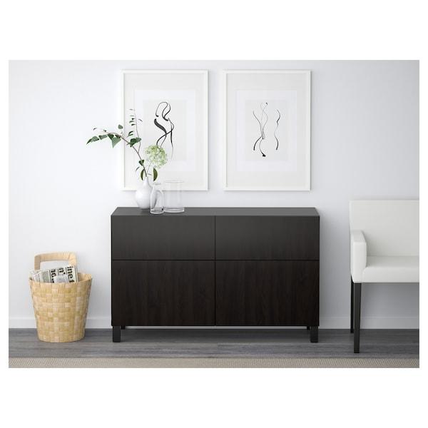 BESTÅ Storage combination w doors/drawers, black-brown/Lappviken black-brown, 120x42x65 cm