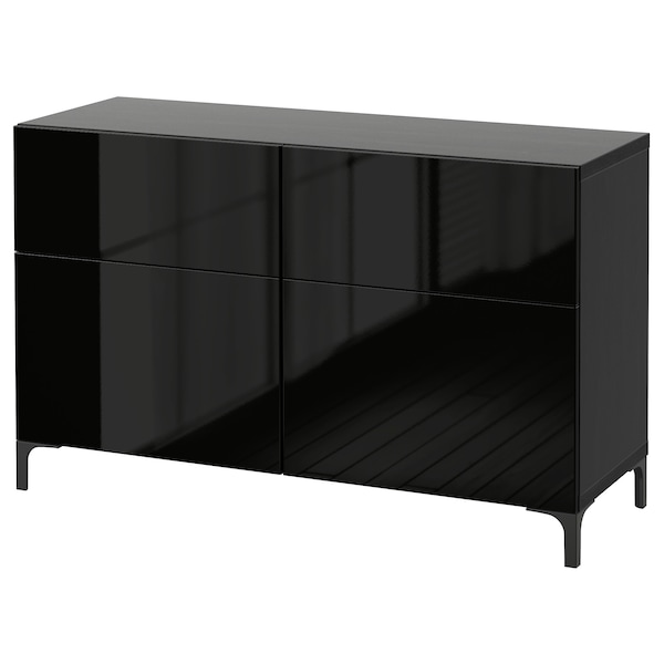 BESTÅ Storage combination w doors/drawers, black-brown/Selsviken high-gloss/black, 120x40x74 cm
