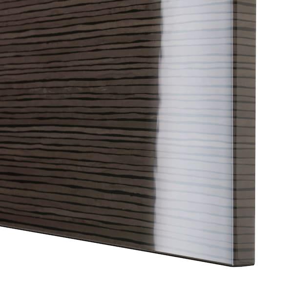 BESTÅ Storage combination w doors/drawers, black-brown/Selsviken high-gloss/brown, 120x42x65 cm