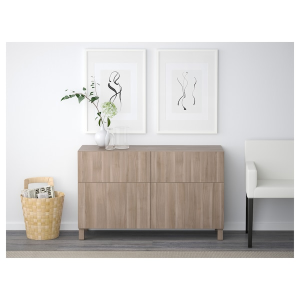 BESTÅ Storage combination w doors/drawers, grey stained walnut effect/Lappviken grey stained walnut effect, 120x42x65 cm