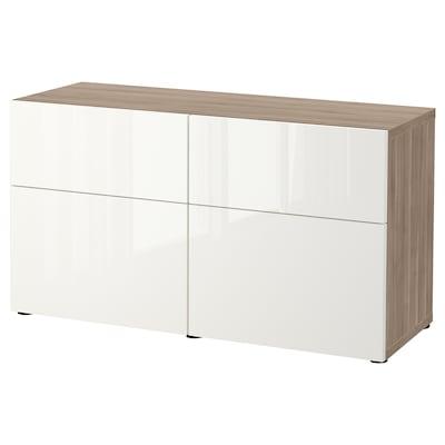 BESTÅ Storage combination w doors/drawers, grey stained walnut effect/Selsviken high-gloss/white, 120x42x65 cm